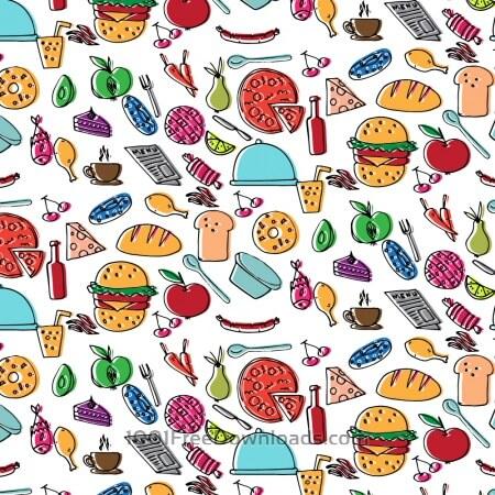 Free Doodle food pattern