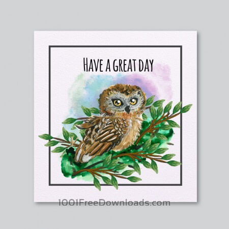 Free Watercolor owl card