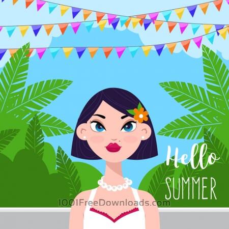 Free Summer garden with girl