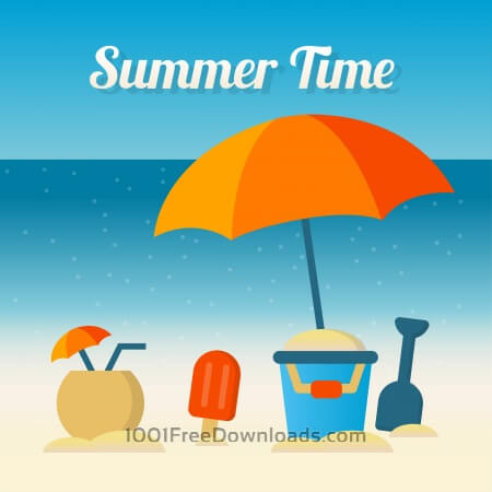 Free It's summer time vector elements illustration