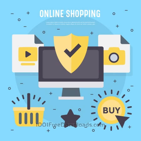 Free Different vector online shopping elements and icons