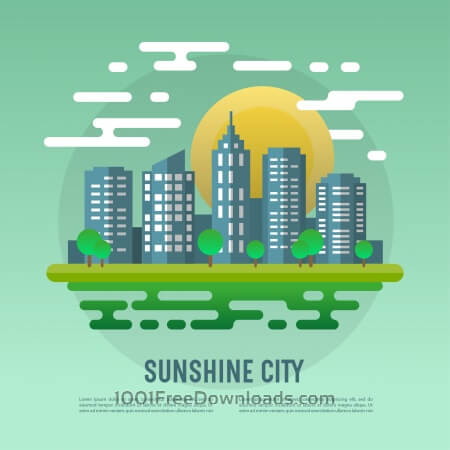 Free Sunshine cityscape vector abstract illustration
