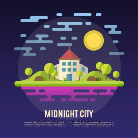 Free Midnight city vector abstract landscape illustration