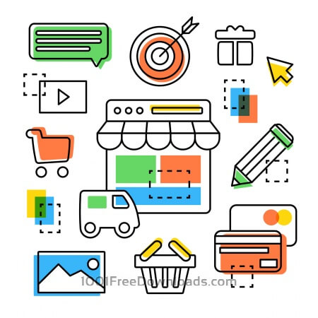 Free Different vector line art elements and icons