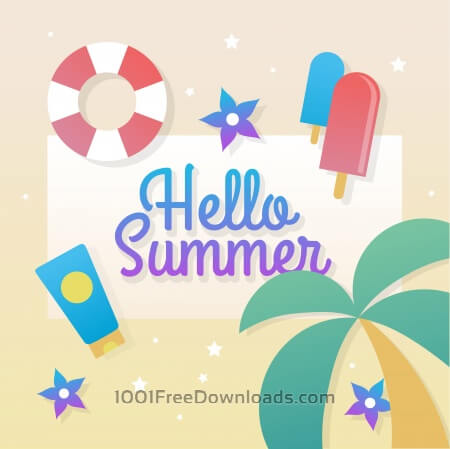 Free Hello summer vector vacation elements and icons