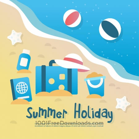 Free Summer background illustration with elements