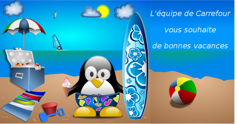 Free Clipart: Tux_at_the_Beach_by_Merlin2525-remix-vacances | acotte