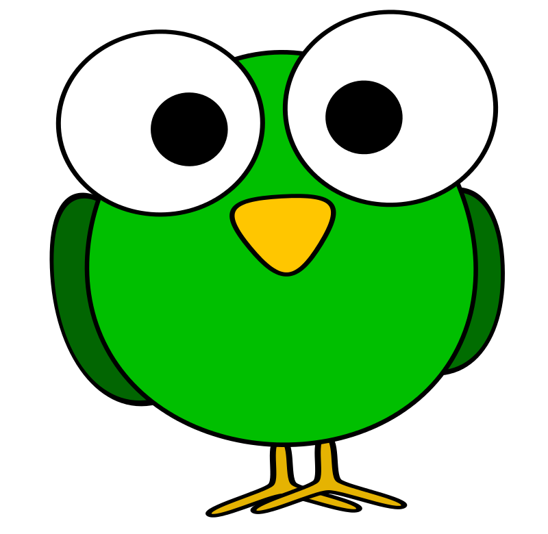 Free Green googly-eye bird