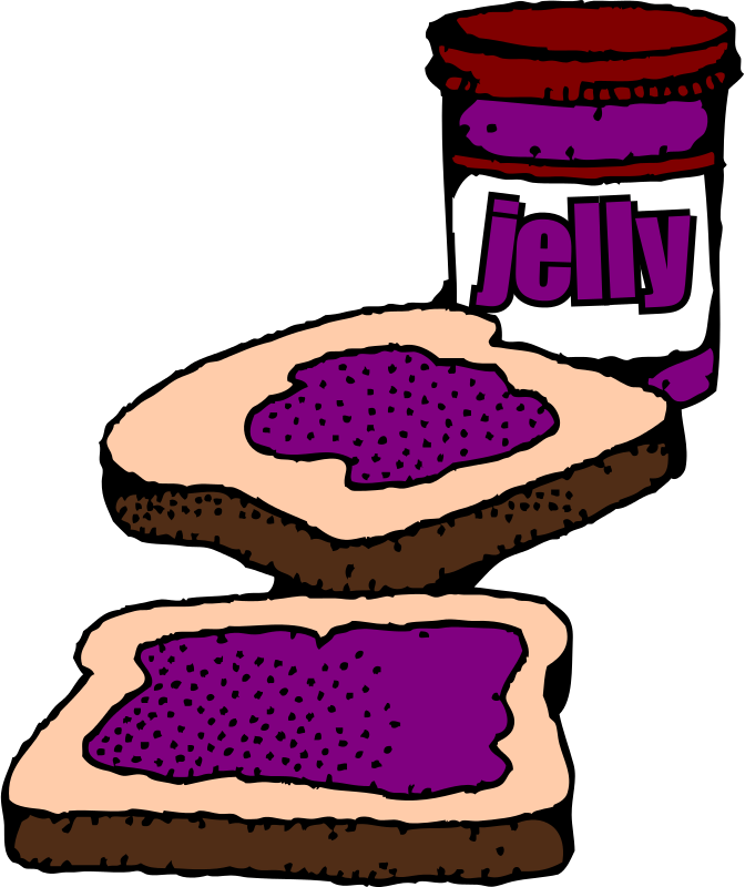 Free Colorized Peanut butter and jelly sandwich with label