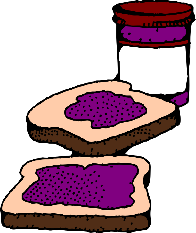 Free Colorized Peanut butter and jelly sandwich