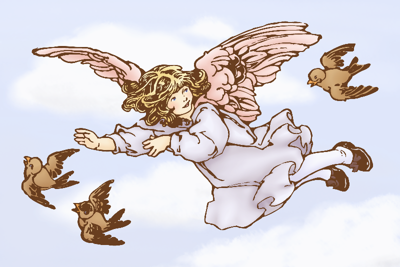 Free Angel flying with birds - remix