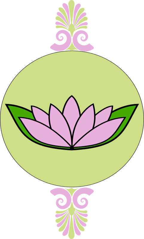 Free Clipart: Lavender and green frame with lotus | Woofer
