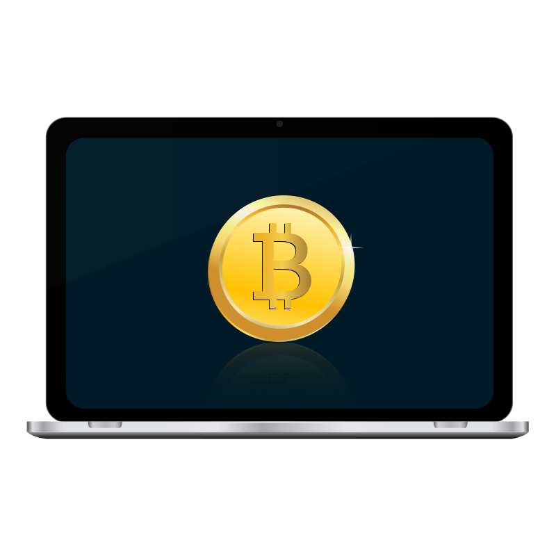 Free Bitcoin in laptop screen