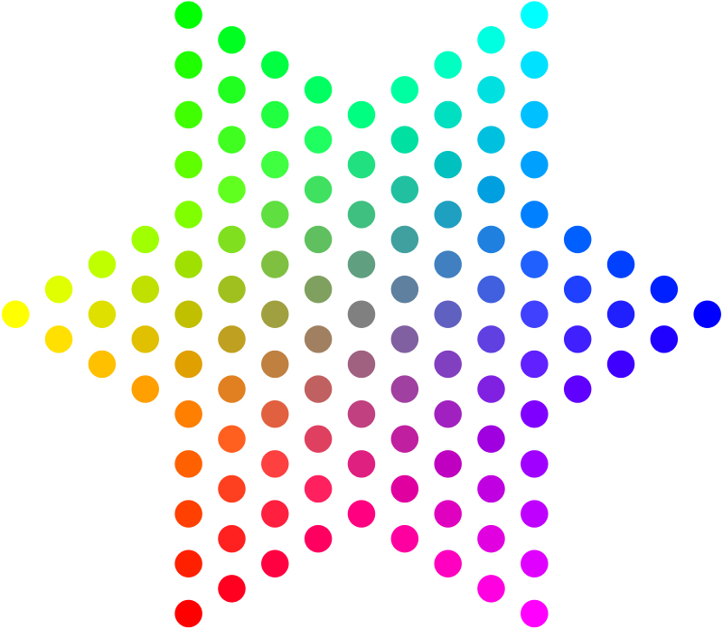Free Color Dots Hexagram