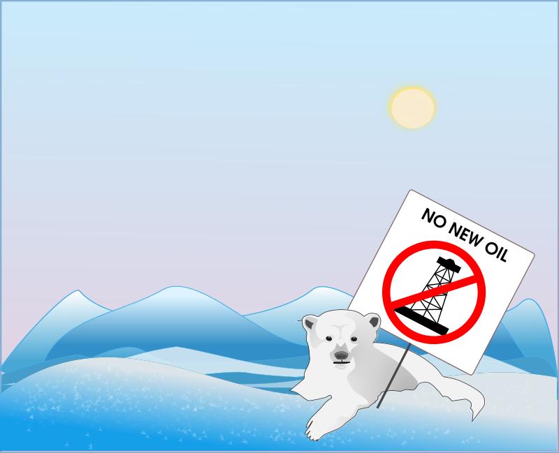 Free No new oil, says polar bear protestor