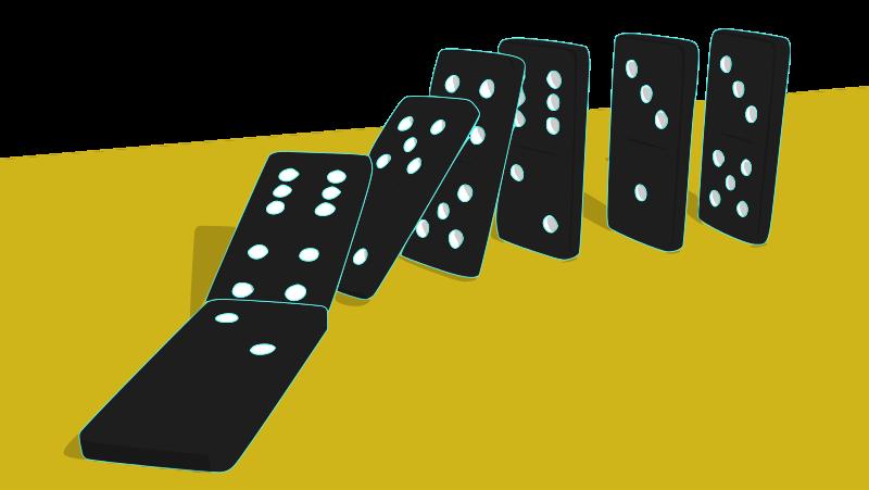 Free Falling Dominoes