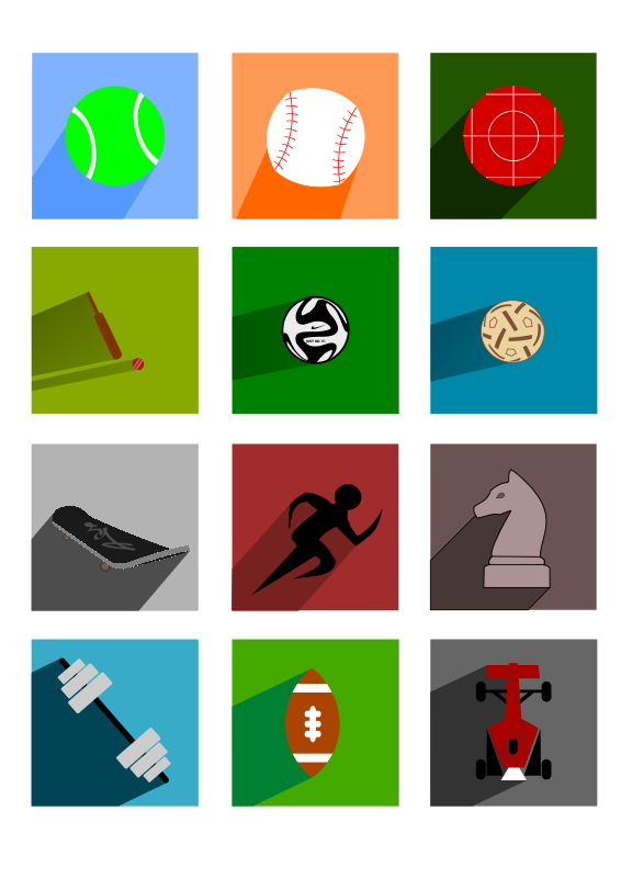Free Sports Long Shadow Icons