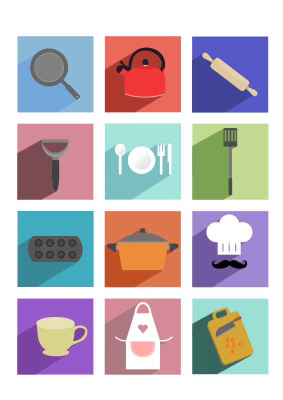 Free Cooking Utensils Long Shadow Icons