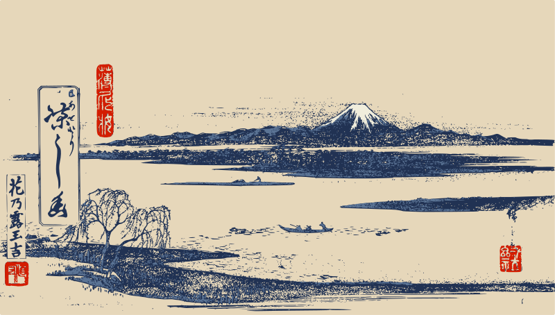 Free Mount Fuji - Woodblock Print