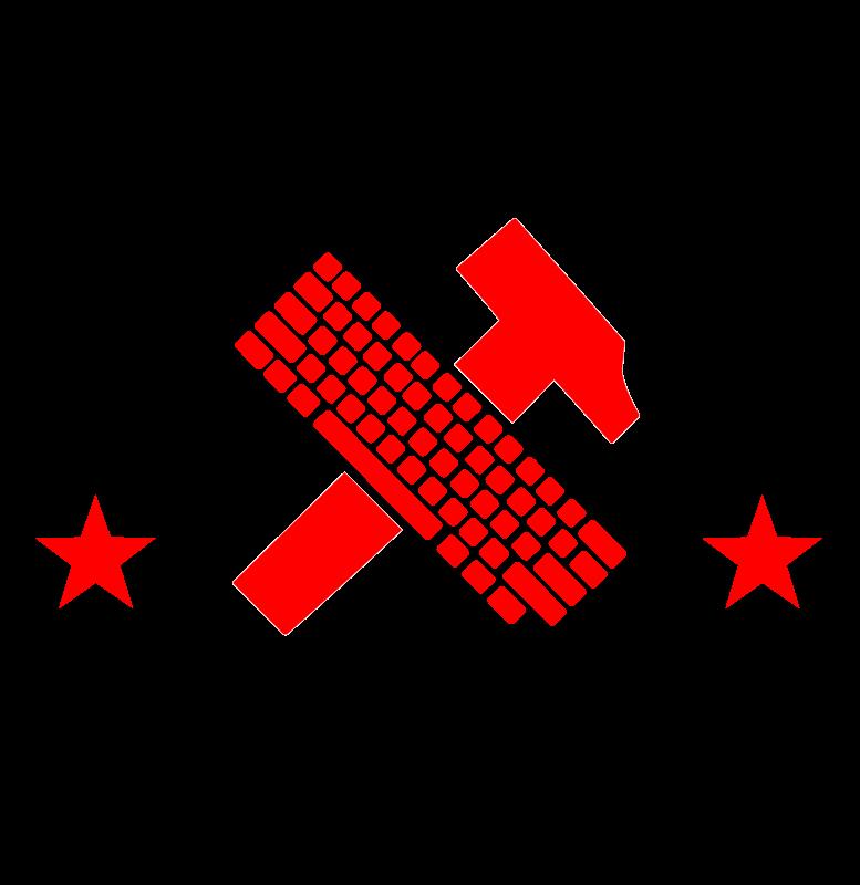 Free Workers of the world, unite! el pueblo unido jamas sera vencido! hammer and keyboard