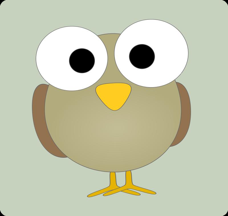 Free Googley-eye bird - soft grey