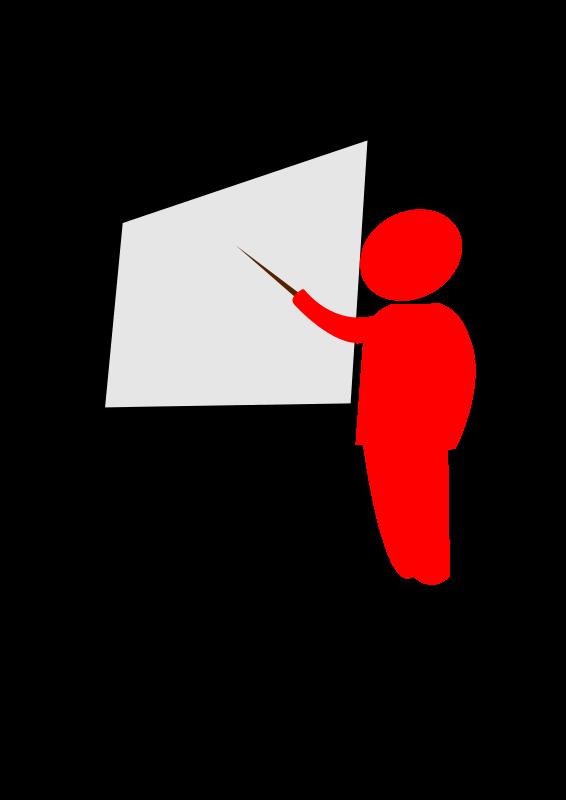 Free teacher explains pointing to the blackboard