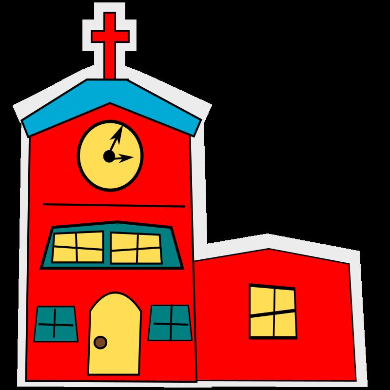 Free cartoon_church with a cross