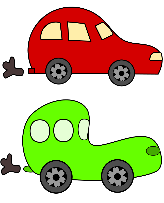 Free cartoon green and red cars