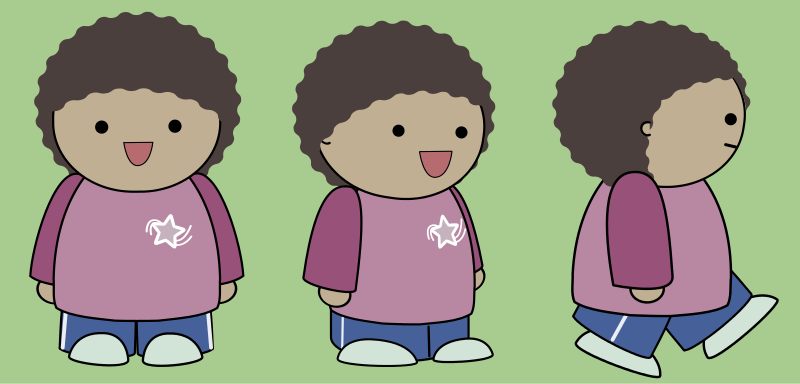 Free Clipart: Comic character from 3 angles | anarres