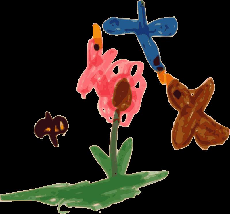 Free Kindergarten Art Birds, Bee, and Flower