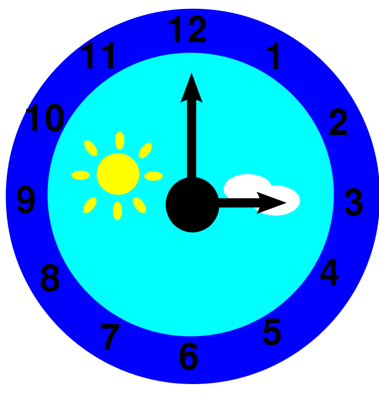 Free clock is pointing at three o'clock