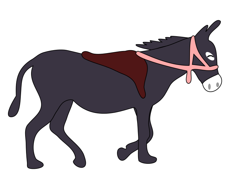 free clipart donkey is smiling with a saddle and a pink bridle