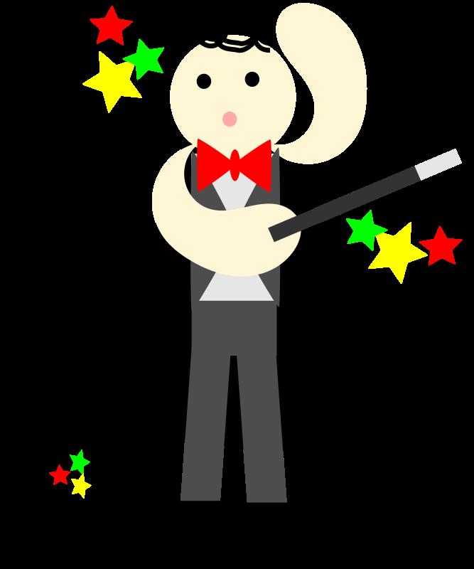 Free cute magician in a black cape with a stick