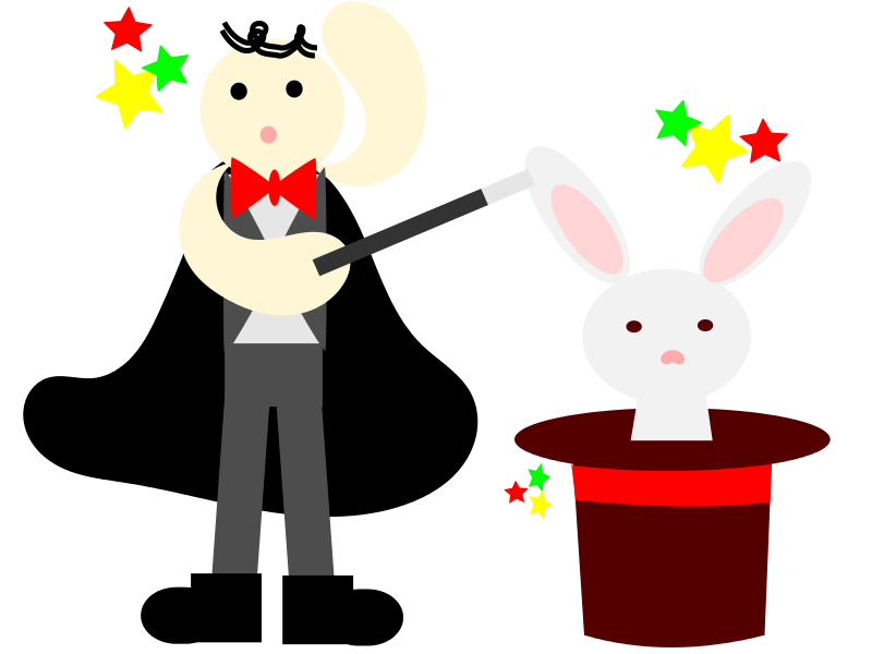 Free magician with a rabbit in a hat