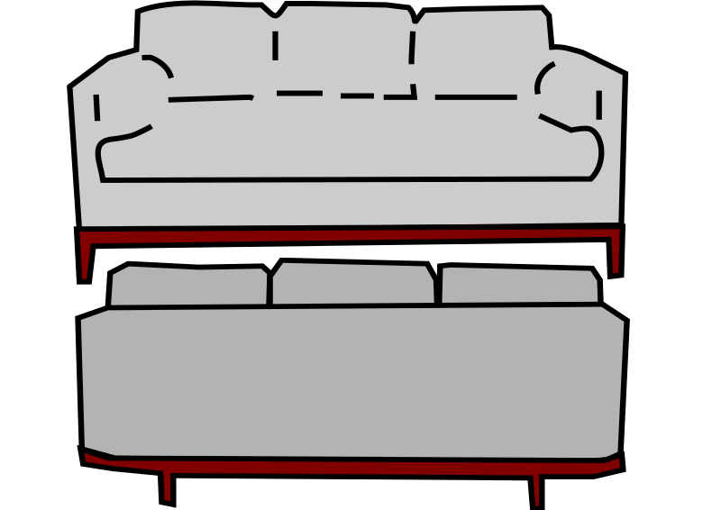 Free Clipart Gray Sofa Front And Back Loveandread