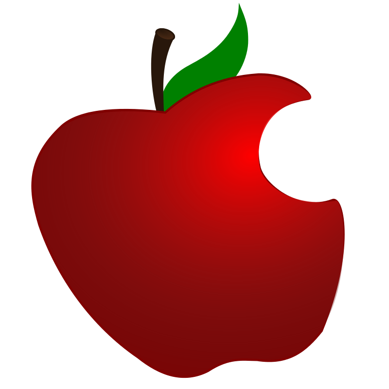 Apple bitten. Free clipart with bite