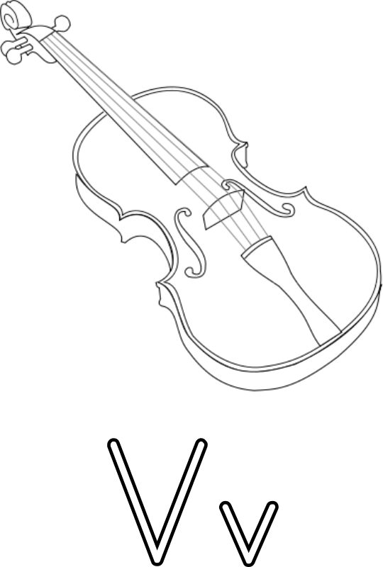 Free V for violin for coloring