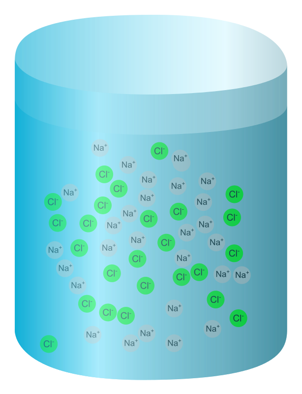 Free Salt water (ions displayed)