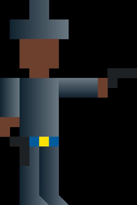 Free Cowboy Shooting Gun Abstract Vector Pixel Art