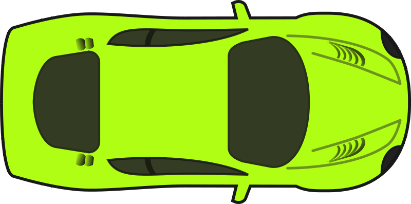 Free Bright Green Racing Car (Top View)