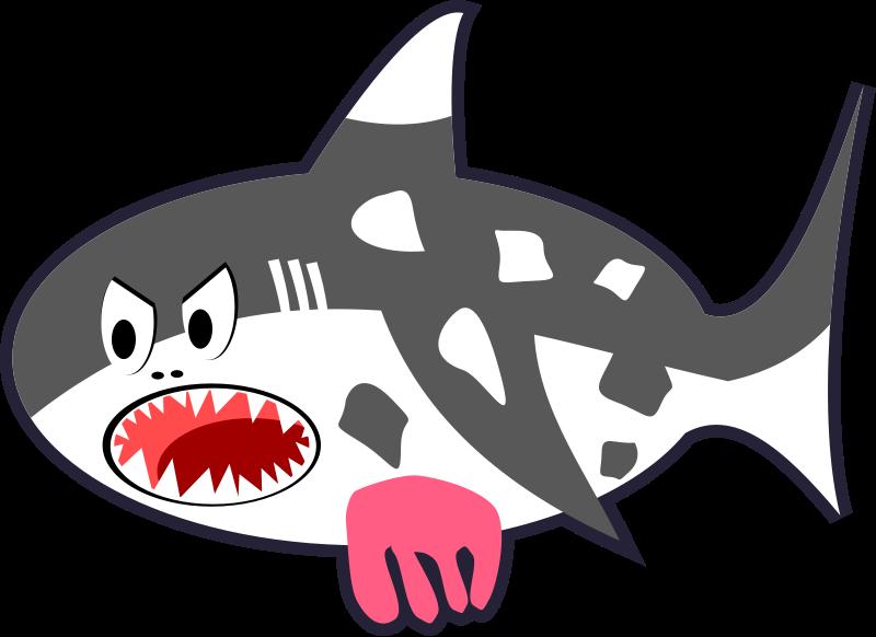 Free Black, White & Red Cartoon Shark Cow