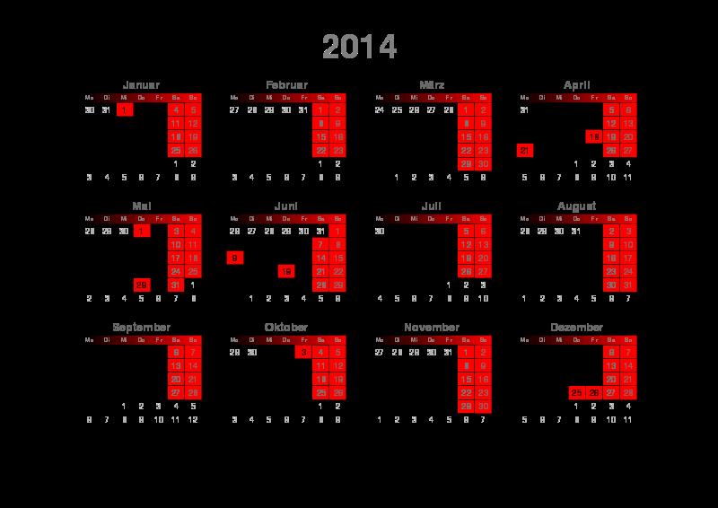 Free Kalender 2014 Quer A4