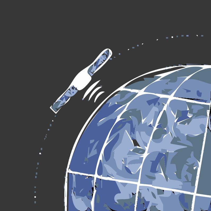 free clipart satellite orbiting earth unite america