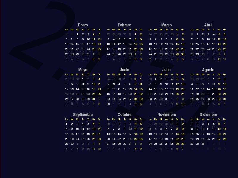 Free Fondo de escritorio (Calendario 2.014)