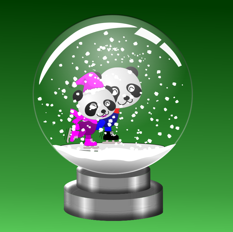 Free Panda Skaters in Snow Globe