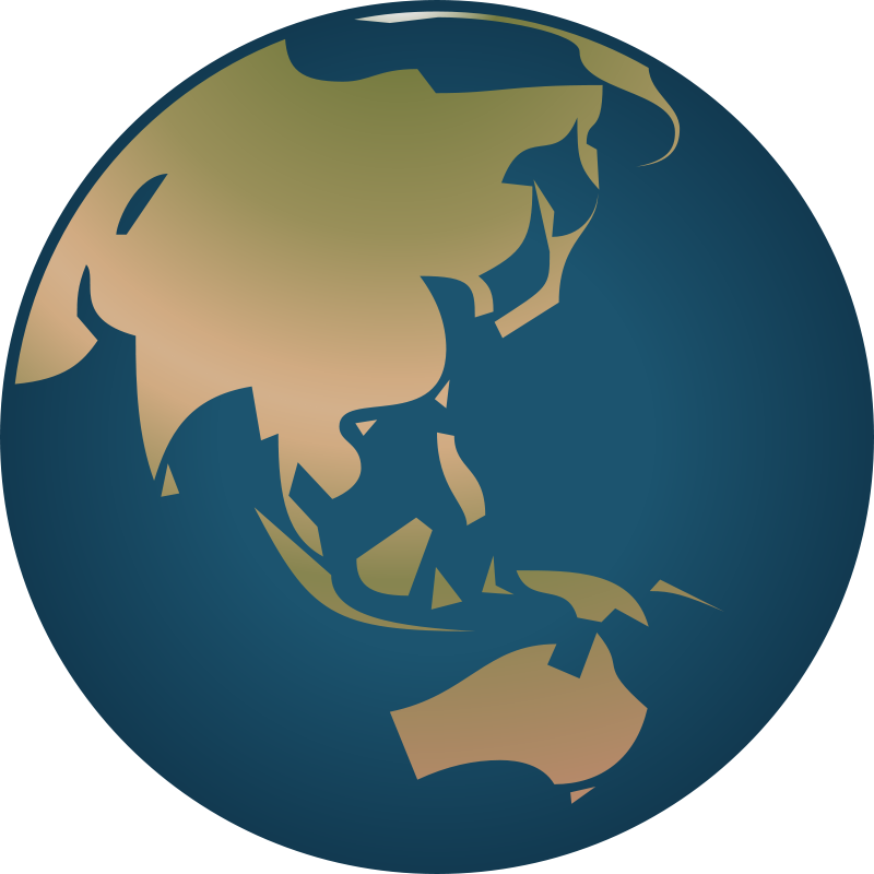Free Simple Globe facing Asia and Australia