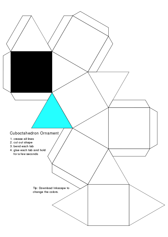 Free Cubocdehedron for Coloring (Ornament)