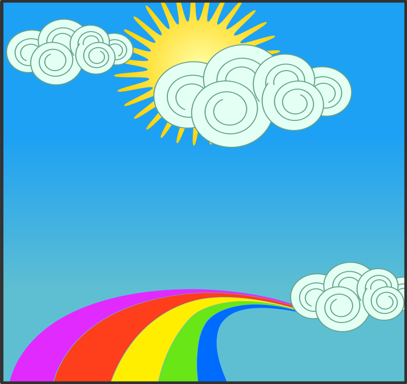Free Sun, sky, clouds, and rainbow