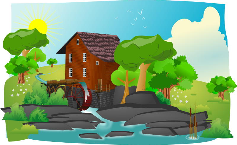 Free Watermill in lanscape
