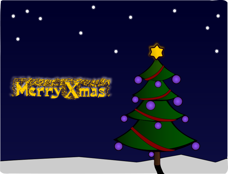 Free Colour Christmas Tree Card